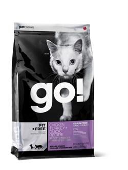 GO! Natural Holistic - Сухой корм беззерновой для котят и кошек (4 вида мяса: курица, индейка, утка и лосось) Fit + Free Grain Free Chicken, Turkey, Duck Cat Recipe - фото 4990