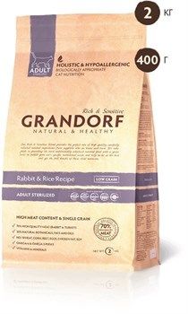 Grandorf - Сухой корм для взрослых стерилизованных кошек (кролик с рисом) Adult Cat Sterilized Rabbit & Rice Recipe - фото 5115