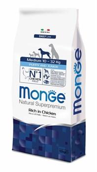 Monge - Сухой корм для щенков средних пород (курица с рисом) Medium Puppy & Junior - фото 5296