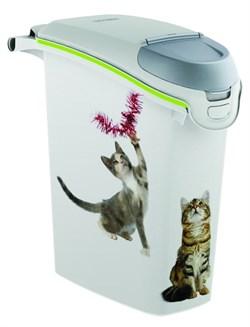 "Curver PetLife - Контейнер для хранения корма ""Сладкие котята"", 23х50х36см, 6кг/15л (белый) Cat Dry Food Jug - фото 5660"