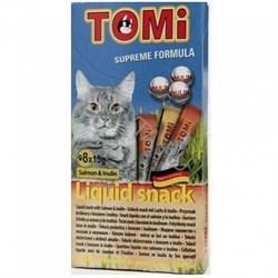 Tomi - Лакомство-соус для кошек 8 шт (лосось) + инулин - фото 6241