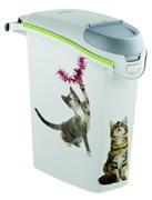 """Curver PetLife - Контейнер для хранения корма """"Сладкие котята"""", 23х50х36см, 6кг/15л (белый) Cat Dry Food Jug"""
