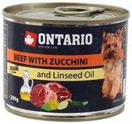 Ontario - Консервы для собак малых пород (c говядиной и цуккини) Mini Beef With Zuchini, Dandelion and Linseed oil