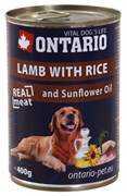 Ontario - Консервы для собак (с ягненком и рисом) Lamb With Rice, Sunflower Oil