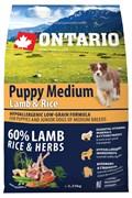 Ontario - Сухой корм для щенков (с ягненком и рисом) Puppy Medium Lamb & Rice