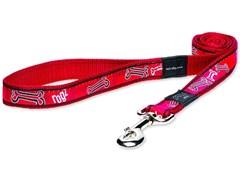 "Rogz - Поводок ""Красные косточки"" (размер M - ширина 1,6 см, длина 1,4 м) FANCY DRESS FIXED LEAD"