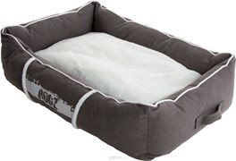 Rogz - Лежак с бортиком и двусторонней подушкой, серый/кремовый, большой (88x55x26 см) LOUNGE POD LARGE