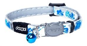 """Rogz - Ошейник с застежкой для кошек """"Синие цветы"""" (ширина 1,1 см, размер 20-31 см) GLOWCAT SAFELOC BUCKLE COLLAR"""