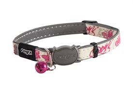 """Rogz - Ошейник с застежкой для кошек """"Розовые бабочки"""" (ширина 1,1 см, размер 20-31 см) GLOWCAT SAFELOC BUCKLE COLLAR"""