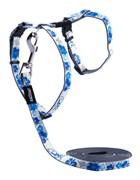 """Rogz - Набор для кошек """"Синие цветы"""" (шлейка (24-40см) + поводок (длина 1,8м)) GLOWCAT HARNESS AND LEAD SET BLUE"""