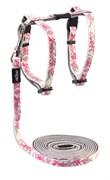 "Rogz - Набор для кошек ""Розовые бабочки"" (шлейка (24-40см) + поводок (длина 1,8м)) GLOWCAT HARNESS AND LEAD SET PINK"