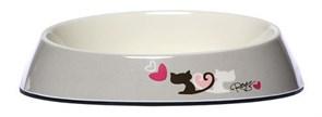 """Rogz - Миска для комфортного кормления """"Fishcake"""", """"Влюбленные котики"""", 200 мл MELAMINE CAT BOWL"""