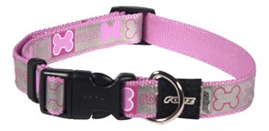Rogz - Светоотражающий ошейник для щенков, розовый (размер M (28-46 см), ширина 16 мм) SIDE RELEASE COLLAR