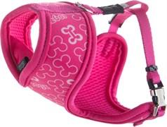 """Rogz - Шлейка-манишка для собак малых пород """"Розовые косточки"""" (размер M (39-52 см), ширина 16 мм) FABRIC HARNESS"""