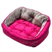 """Rogz - Мягкий лежак с двусторонней подушкой """"Розовое сердце"""", размер M (56х43х29см) LUNA PODZ MEDIUM"""