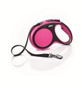 Flexi - Рулетка-ремень для собак, размер M - 5 м до 25 кг (розовая) New Comfort Tape pink