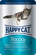 Happy Cat - Паучи для кошек (с лососем и креветками)