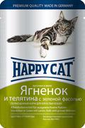 Happy Cat - Паучи для кошек (с ягненком, телятиной и зеленой фасолью)
