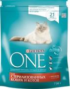 Purina ONE - Сухой корм для стерилизованных кошек и котов (с лососем и пшеницей)