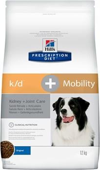 Hill's (вет. диета) - Сухой корм для собак лечение заболеваний почек + суставы K/D+Mobility - фото 10154