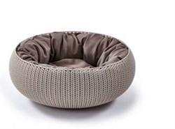"""Curver PetLife - Лежак для животных """"Вязаный комфорт"""" с подушкой, 54*20,2 см, дымчато-бежевый - фото 10192"""