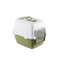 Stefanplast - Туалет-домик Cathy Comfort с уголным фильтром и совочком, зеленый, 58х45х48 см - фото 10288