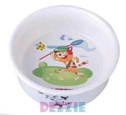 "Dezzie - Миска для кошек ""Охотник"", 150 мл, 10*10*4 см керамика - фото 10402"