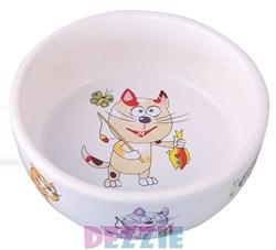Dezzie - Миска для кошек, 150 мл, 300 мл, 12,5*12,5*4,5 см, керамика - фото 10412