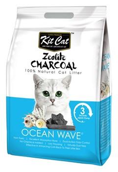 Kit Cat - Наполнитель комкующийся цеолитовый для кошек (с ароматом океанского бриза) Zeolite Charcoal Ocean Wave - фото 10838