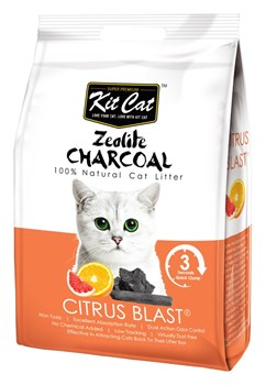 Kit Cat - Наполнитель комкующийся цеолитовый для кошек (с ароматом цитруса) Zeolite Charcoal Citrus Blast - фото 10840
