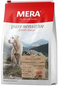 Mera - Сухой беззерновой корм для собак всех пород с чувствительным пищеварением (с говядиной и картофелем) Pure Sensitive  fresh meat Adult Rind&Kartoffel - фото 10870