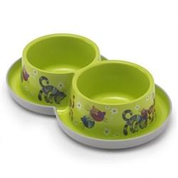 Moderna - Двойная нескользящая миска с защитой от муравьев Trendy - Друзья навсегда, салатовая, 2 *350 мл - фото 11248