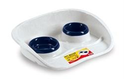 Stefanplast - Подставка Set Dinner бело-голубая с мисками, 0,2 и 0,3л - фото 11419