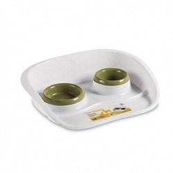 Stefanplast - Подставка Set Dinner бело-зеленая с мисками, 0,2 и 0,3л - фото 11425