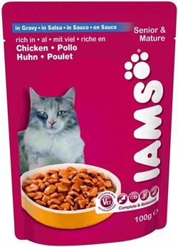 Iams - Паучи для кошек старше 7 лет (с курицей в соусе) Cat Pouch - фото 13438