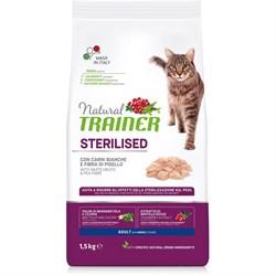Trainer - Сухой корм для взрослых кастрированных котов и стерилизованных кошек (со свежим белым мясом) Natural Adult Sterilised Fresh White Meats - фото 15962