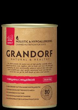 Grandorf - Консервы для взрослых собак (говядина с индейкой) - фото 16171