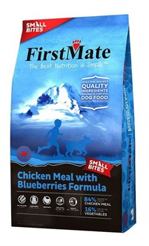 FirstMate - Сухой беззерновой корм для щенков и собак мелких пород (с курицей и голубикой) Chicken Meal With Blueberries Small Bites - фото 16547