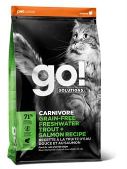 GO! Natural Holistic - Сухой корм беззерновой для котят и кошек с чувствительным пищеварением (с форелью и лососем) Sensitivity + Shine Grain Free Freshwater Trout&Salmon Cat Recipe - фото 16795