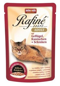 Animonda - Паучи для взрослых кошек (с домашней птицей, кроликом и ветчиной) Rafine Soupe Adult - фото 5203