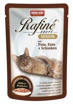 Animonda - Паучи для кошек старше 7 лет (с индейкой, уткой и ветчиной) Rafine Soupe Senior - фото 5215