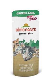 Almo Nature - Лакомство для кошек (куриное филе, 99% мяса) Green Label Mini Food Chicken Fillet - фото 5347
