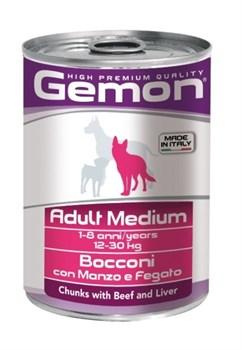 Gemon Dog - Консервы для собак средних пород (кусочки говядины с печенью) Adult Medium - фото 5704