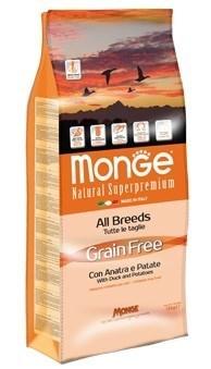 Monge - Сухой корм беззерновой для собак всех пород (утка с картофелем) Dog Grain Free - фото 6052