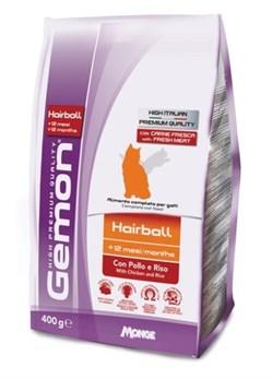 Gemon Cat - Сухой корм для взрослых кошек для выведение шерсти (с курицей и рисом) Hairball - фото 6340