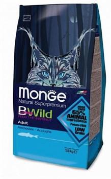 Monge - Сухой корм для взрослых кошек с анчоусам Bwild Cat Cat Anchovies - фото 6350