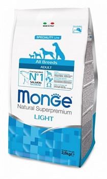 Monge - Сухой корм для собак всех пород низкокалорийный (лосось с рисом) Dog Speciality Light - фото 6355