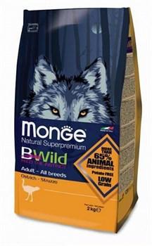 Monge - Сухой корм для взрослых собак всех пород с мясом страуса Bwild Dog Ostrich - фото 6367