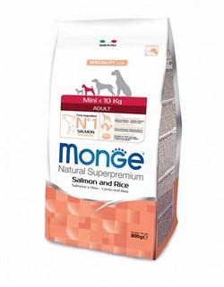 Monge - Сухой корм для взрослых собак мелких пород лосось с рисом Dog Speciality Mini - фото 6372