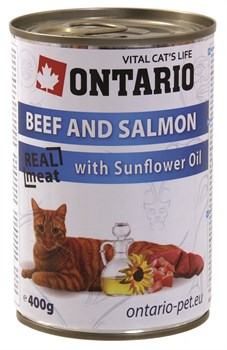 Ontario - Консервы для кошек (говядина и лосось) Beef and Salmon,Sunflower Oil - фото 6447